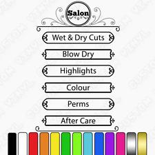 Peluquería Personalizado Precio/lista de productos, lista de los servicios, escaparate Signo Calcomanía