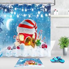 Christmas Baubles Santa Fairytale Cottage Wreath Shower Curtain Set Bath Decor