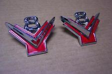 """1954 1955 1956 Ford """"V8"""" Lower Front Fender Emblems NEW Pair 54 55 56"""