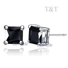 Square Stud Earrings New Es01 T&T 6mm Clear Black Cz