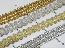 1 Yard Gold/Silver embroidered Glittery lace trimming ribbon Wedding dress makin