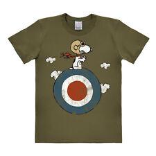 Comics - Peanuts - Hund - Snoopy - Pilot -Target - T-Shirt - oliv - LOGOSHIRT