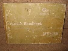 Chrysler Hillman Avenger Owner's Handbook / Instructions 1973 + Illustrated