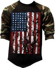 New listing Men's Huge Us Flag Camo 3/4 Sleeve Baseball Raglan T Shirt Usa American Army