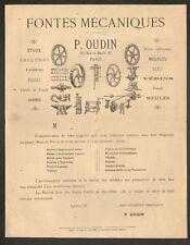 """PARIS (XI°) FONTES MECANIQUES / OUTILS & ACCESSOIRS """"P. OUDIN"""" vers 1880"""