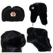 Russian Trapper Hat Cap Soviet Badge Faux Fur Ushanka Cossack Flaps Grey Black