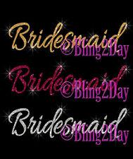 Bridesmaid - Select Color - Iron on Vinyl/Rhinestone Transfer - Bride DIY Shirt