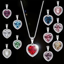 Halskette + Geburtsstein Herz Anhänger 925 Silber mit Kristallen von Swarovski®