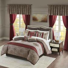 New Elegant Jacquard Red Faux Silk Medallion Comforter Window Curtain 24 pcs Set