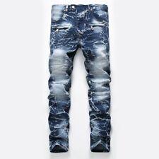Mens Jeans Pleated Denim Pants Slim Fit Fashion Jeans Casual Pants Trouses