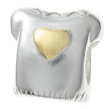 14K Gold 2 Tone Sterling Silver Love Heart T-Shirt for European Charm Bracelets