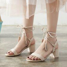 Ladies Med Block Heels Tassel Ankles Strap Sandals Peep Toe Casual Shoes Size2-7