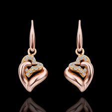 Ohrschmuck Ohrringe Ohrhänger  Herz in Herz mit echten Zirkonia++Rotgold PL