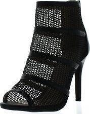 Annie Pinky Tami-04 Women's Open Toe Strap Breathable Mesh Stiletto Heels