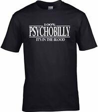 Psychobilly T-Shirt 100% Rockabilly es en la sangre homenaje Regalo Rock & Roll