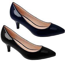 JLH022 Mujer Tacón Bajo Gatito Parker Puntera en Punta patente Gatito Tribunal Zapatos