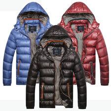 Mens Puffer Jacket Padded Outer Wear Detachable Hood Lightweight Black Blue Red