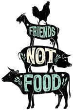 VEGAN - FRIENDS NOT FOOD - IRON ON T-SHIRT TRANSFER OR STICKER