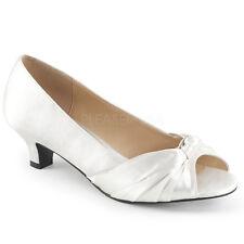 Scarpe Donna Decollete Raso Bianco Sposa Comode Spuntate Tacco 5 Pleaser FAB-422