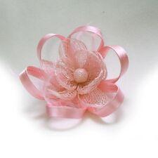Pince Broche Mariage Fleur Plumes Bouton Ruban (Ivoire, Rose, Noir, .. NEUF