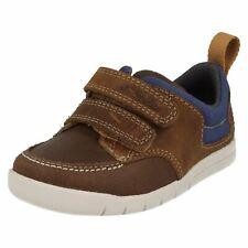 Niños Clarks Crazy Jay FST Cuero Correa Doble Primeros Zapatos Para Caminar