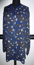 ❤️ Damen Long Bluse Jacke Blusenjacke Blouson Blazer blau Gr. 48/50 52/54 56/58