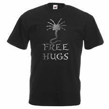Mens Black Free Hugs Top Ailen Face Hugger T Shirt Metallic Silver Print
