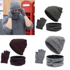4a65cce4a39 New Men Women Beanie Hat Scarf Neck Warmer Winter Thermal Ski Cap Gloves Set  UK