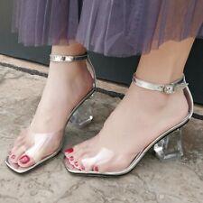 New Fashion Women Sandals Transparent PVC Clear Heel Sandals Chic Shoes Sz 4.5-8
