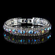 Chic Crystal Rhinestone Bling Zircon Bracelet Cuff Bangle Chain Women Wedding