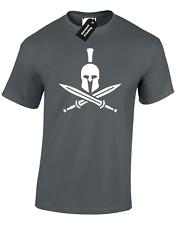 CROSS SWORDS SPARTAN MENS T SHIRT WORKOUT CROSSFIT HELMET WEIGHTS LIFT BOXING
