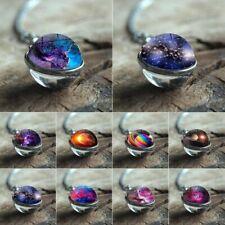 Universe Galaxy Nebula Space Glass Ball Pendant Glow in the Dark Necklace Retro