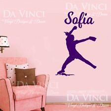 Softball Player Pitcher Wall Custom Girl Name Vinyl Wall Decal Sticker B