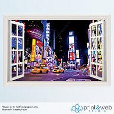 NEW York 3d Finestra Vista Adesivo Parete Decalcomania Arredamento Murale (VARI Disegni)