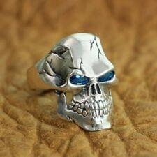 Handmade 925 Sterling Silver CZ Eyes Skull Ring Men Biker Punk Gothic Ring TA131