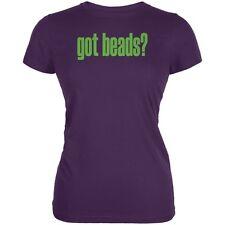 Mardi Gras Got Beads Purple Juniors Soft T-Shirt