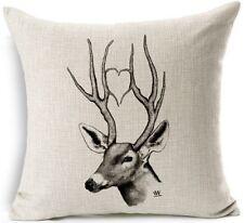 Cotton Linen Cushion Cover Pillow Case Jungle Animals Elephant ELK Rhino Zebra
