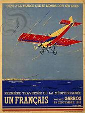 REPRO DECO AVION ROLAND GARROS SEPTEMBRE 1913 PLANE  SUR PANNEAU MURAL BOIS HDF