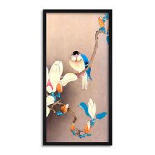 Ohara Koson Blue Bird and Magnolia Japanese Long Panel Framed Wall Art Print