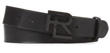 $395 Ralph Lauren Purple Label Mens Black Leather Carbon Fiber RL Buckle Belt