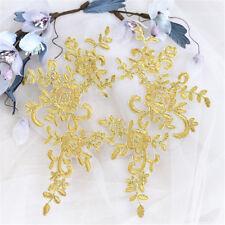 2Pcs Bridal Embroidery Applique Wedding Lace Floral Decoration Motif Trim Well