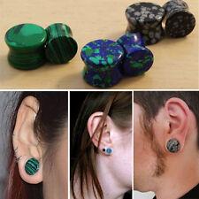 3 Pairs 6PC Set Gemstone Stone Ear Plugs Synthetic & Azurite Malachite, Obsidian
