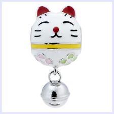 Rhodium Sterling Silver Fortune Cat Jingle Bell Bead for European Charm Bracelet