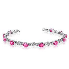 14K White Gold Oval Pink Topaz and Diamond Bracelet