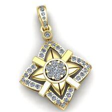 Natural 1ct Round Cut Diamond Ladies Accent Cluster Star Pendant 14K Gold