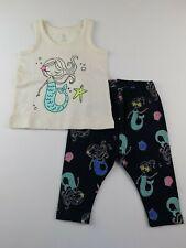 NWT Gap Toddler Girl's 2 Pc Outfit Mermaid Tank Top & Leggings 6-12M MSRP$30 New