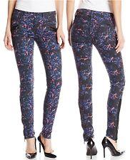 Joe's Jeans Cobalt Leopard Print w/Leather Trim Ankle-Zip Skinny Jean - $198