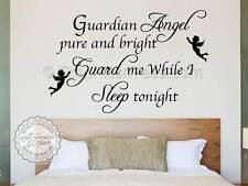 Pared del dormitorio de citar la etiqueta engomada, ángel guardián dormir esta noche, Vinilo Arte calcomanía