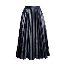 Black Pu faux leather pleated midi skirt size 6-14