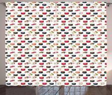 Sushi Curtains 2 Panel Set Decoration 5 Sizes Window Drapes Ambesonne